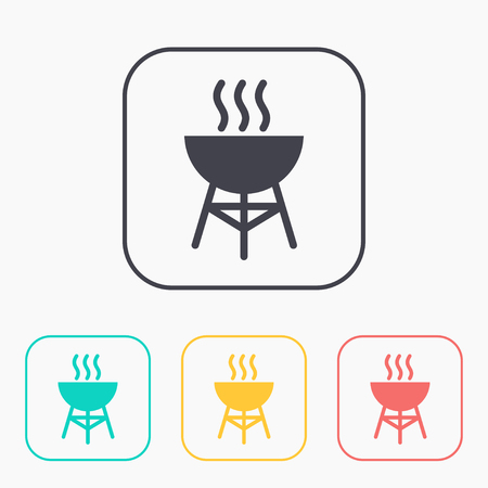 Hot barbecue grill illustration. Vacation vector color icon set