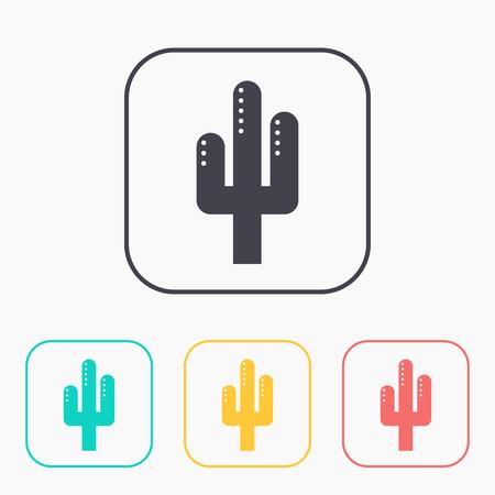 Desert cactus illustration. Plants vector color icon set