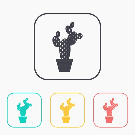 Cactus in flower pot illustration. Household vector color icon set