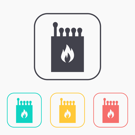 Box of matches illustration. Fire vector color icon set