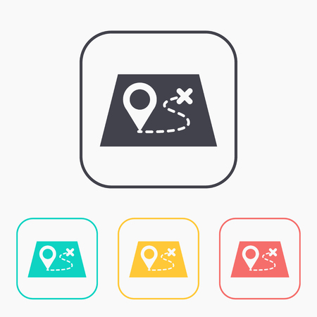 Route on a map with destination illustration. Adventures vector color icon set Ilustrace