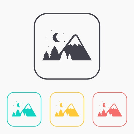 Mountains covered with snow at night illustration. Traveling vector color icon set.