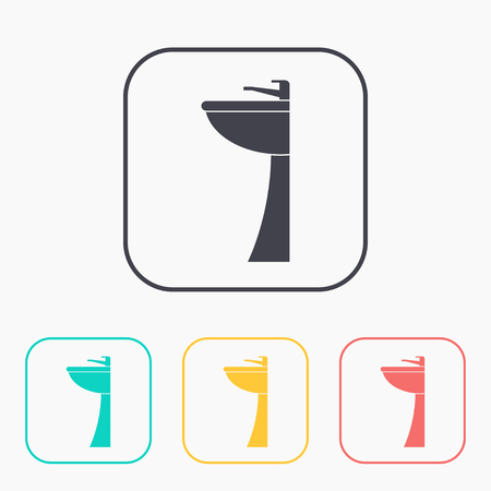 Sink with faucet illustration. Bathroom vector color icon set