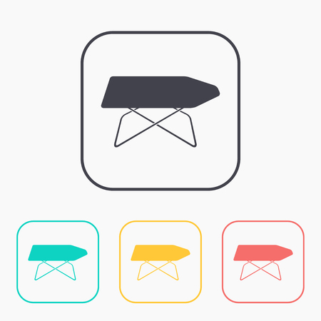 Ironing board illustration. Household vector color icon set