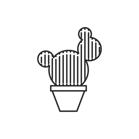 Cactus in flower pot illustration. Household vector outline icon