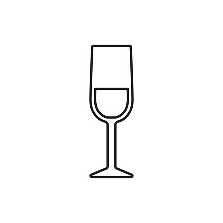 vector outline icon of wine glass Illustration