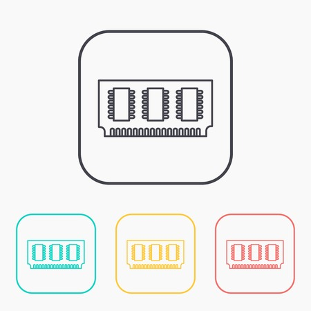 vector outline icon of memory chip Vettoriali