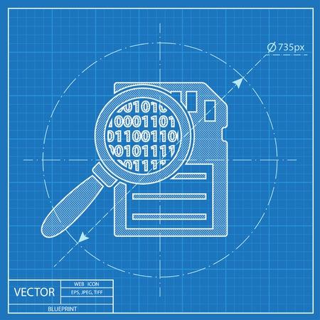 Geheugenkaart zoeken vector blauwdruk pictogram. Elektronica illustratie.