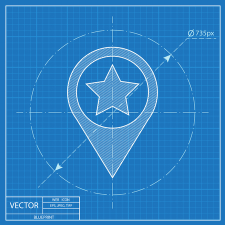Map pointer illustration. Navigation vector blueprint icon