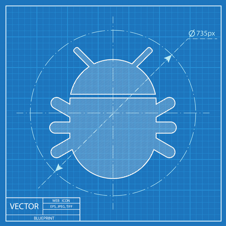 Bug vector blueprint icon. Nature illustration Ilustrace