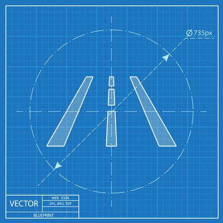 Highway road lanes vector hmi dashboard blueprint icon