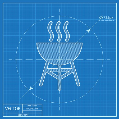 Hot barbecue grill illustration. Vacation vector blueprint icon