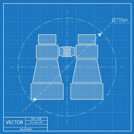 Tourist binocular illustration. Adventures vector blueprint icon Ilustrace