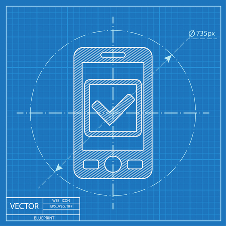 Mobile phone with checkmark symbol vector blueprint icon. Operation accepted illustration