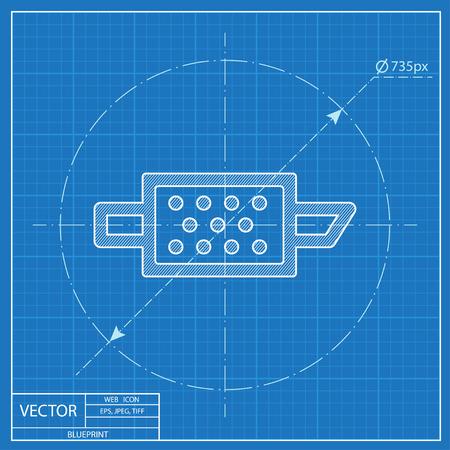 Icona di blueprint del cruscotto di vettore di avvertimento del filtro del motore del particolato