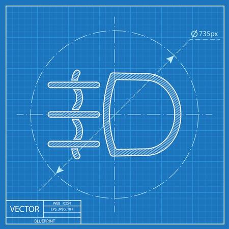 Fog light symbol vector hmi dashboard blueprint icon Ilustrace