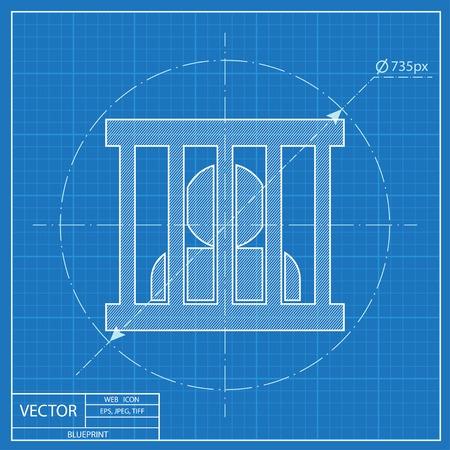 Jailed man, prison vector blueprint icon Ilustrace