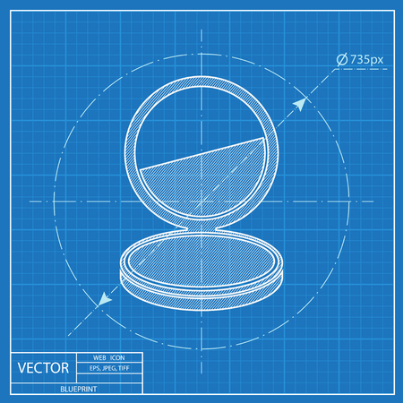 Pocket mirror illustration. Cosmetic face powder vector blueprint icon