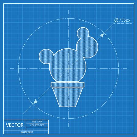 Cactus in flower pot illustration. Household vector blueprint icon