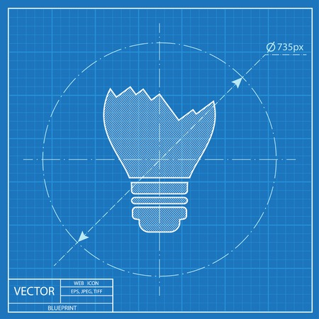 Broken light bulb vector blueprint icon
