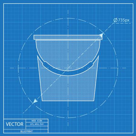 Bucket illustration. Floor washing vector blueprint icon