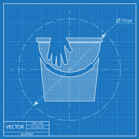 Bucket with rubber gloves illustration. House clean vector blueprint icon