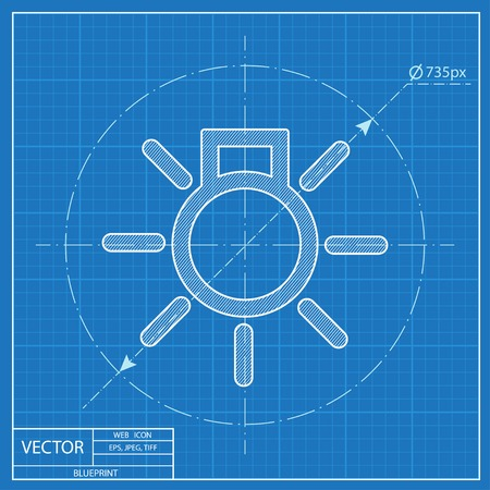 Electrical light with rays simple vector hmi dashboard blueprint icon