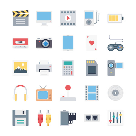 multimedia icons: multimedia icons  xmultimedia flat icons  xmultimedia colored icons  xcinema  xmusic Illustration