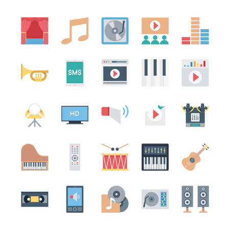 multimedia icons: Get ready for your next project with Multimedia Icons Set! You will find that these Icons to use for multimedia and musical instruments graphics for posters and concert flyers. Illustration
