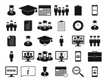 Education Icon set. Flat style vector EPS.