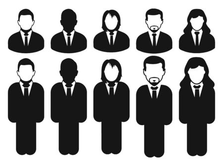 Corporate man or Employee  icon set. Flat style vector EPS.