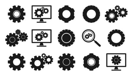 Gear Icon set. Flat style vector EPS. Stock fotó - 129487441