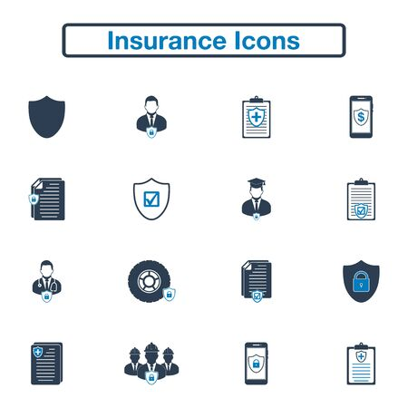 Insurance Icon set. Flat style vector EPS.