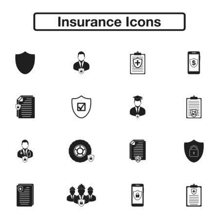 Insurance Icon set. Flat style vector EPS.