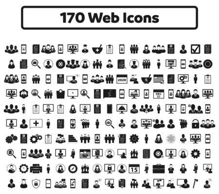 170 web icon set. Flat style vector EPS. 向量圖像