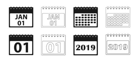 Calendar Icon set. Flat and line style vector EPS Иллюстрация