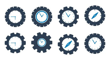 Time Icon set. Flat style vector EPS.