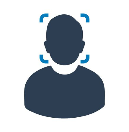 Biometric Face Recognition Icon. Flat style vector EPS.
