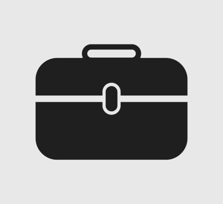 Briefcase Icon on gray background. Flat style vector EPS.
