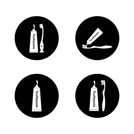Toothbrush Toothpaste icon set. Button style Vector EPS.