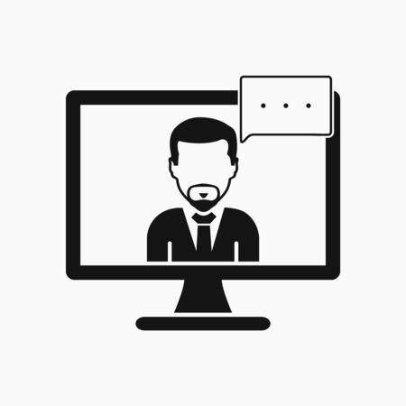 Online business support icon. Flat style vector EPS. 向量圖像
