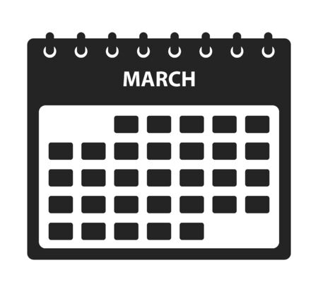 March Calendar Icon. Flat style vector EPS.