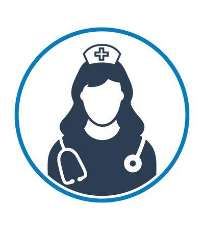 Nurse profile Icon with circle shape. Flat style vector EPS.