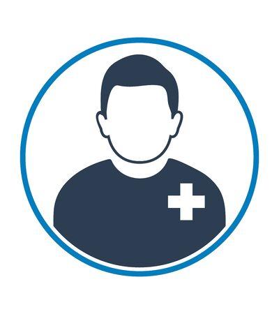 Icône de profil de patient de sexe masculin avec forme de cercle. Vecteur de style plat EPS.