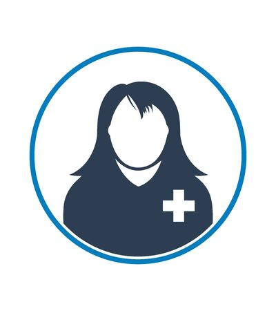Female Patient profile icon with circle shape. Flat style vector EPS.