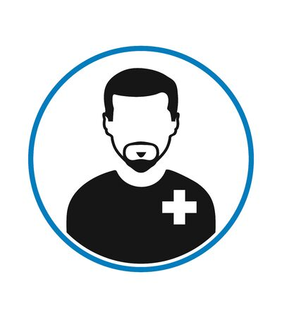 Male Patient profile icon with circle shape. Flat style vector EPS. Çizim