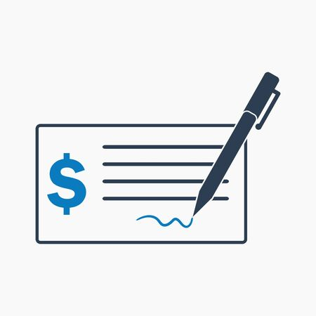Cheque icon. Flat style vector EPS.