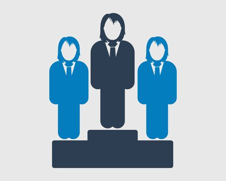 Business leader Icon. Female symbol  on podium. Flat style vector EPS.