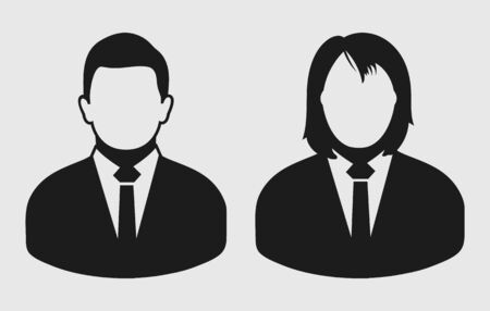 Corporate couple Icon.Male and female symbol on gray background. Flat style vector EPS.