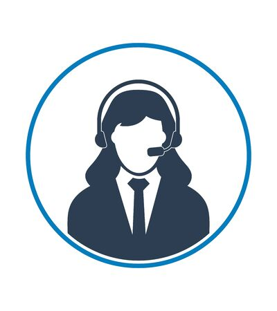 Female Call centre operator icon. Flat style vector EPS.